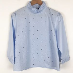 Zara light blue mock neck rhinestone blouse
